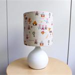 Small Nursery Lamp | The Three Little Pigs | White Metal Base with Fabric Shade