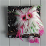 Cute Bright pink, green and white 3D fur feather owl star wall hanging. Nursery