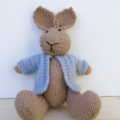 Peter the  Hand Knitted Bunny Rabbit Toy with Pale Blue Jacket