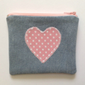 Upcycled Denim Coin Purse - Pink Polka Dot Heart detail