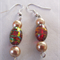 Green/red and gold earrings