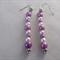 Pink and cream beaded dangling earrings