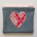 Upcycled Denim Purse with Pink Heart detail