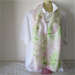 Hand Painted - Silk Scarf - Lime Green and Hot Pink