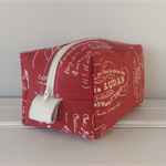 Red Linen Toiletry Bag.