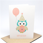 Birthday Card Girl - Birthday Girl Party Owl with Balloon - HBC197