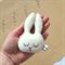 Sleepy Bunny Rabbit | Blue Check print back | Baby Rattle