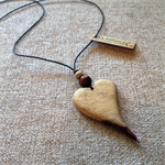 Solid Heart Pendant handcrafted from Camphor Laurel #h29
