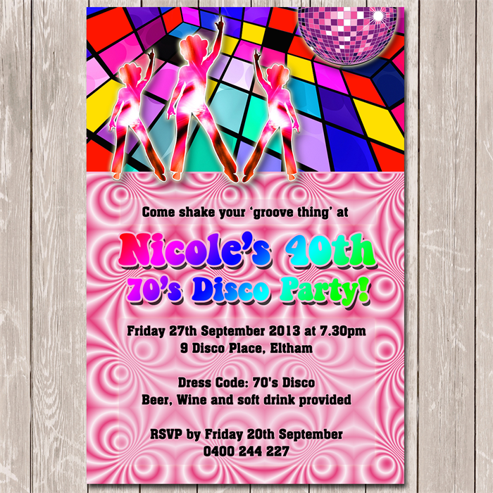 Funky 70s 80s Personalised Disco Birthday Invitation YOU PRINT