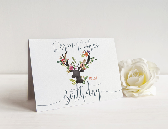 Warm wishes on your birthday floral deer head birthday card warm wishes on your birthday floral deer head birthday card for her bookmarktalkfo Image collections