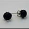 Black Fused Glass Mini Stud Earrings