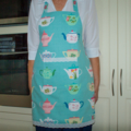 Full Apron Teapots - womens retro lined apron - vintage teapot theme print apron