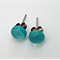 Turquoise Fused Glass Mini Stud Earrings