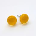 Yellow Fused Glass Mini Stud Earrings