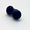 Navy Blue Fused Glass Mini Stud Earrings
