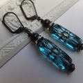 Aqua Black Glass Engraved Czech Earrings with Crystal Rondelles