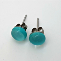 Turquoise Fused Glass Mini Stud Earrings