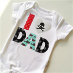 Fathers Day New Dad Pirate Theme I 'Heart' Dad Onesie All sizes Available