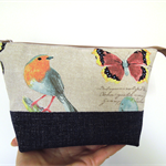 Open Wide Zippered Pouch. Butterflies & Birds. Denim and cotton.