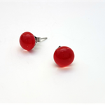 Red Fused Glass Mini Stud Earrings