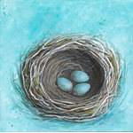 "Common Blackbird Nest & Eggs III.   8"" x 8"" original acrylic painting on canvas."