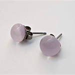 Pale Pink Fused Glass Mini Stud Earrings