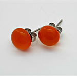 Orange Fused Glass Mini Stud Earrings