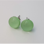 Mint Green Fused Glass Mini Stud Earrings