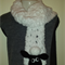 """White scarf with """"Shaun Sheep"""" inspired face, also available in lime green"""