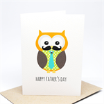 Father's Day Card - Owl Dad with Blue Tie - HFD027