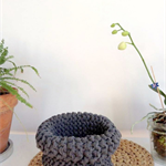 Basket, Storage solution - Hamptons Knitted Vessel in Jersey - Tshirt Yarn