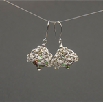 Sterling silver Murano glass earrings. Silver chainmaille bauble earrings.