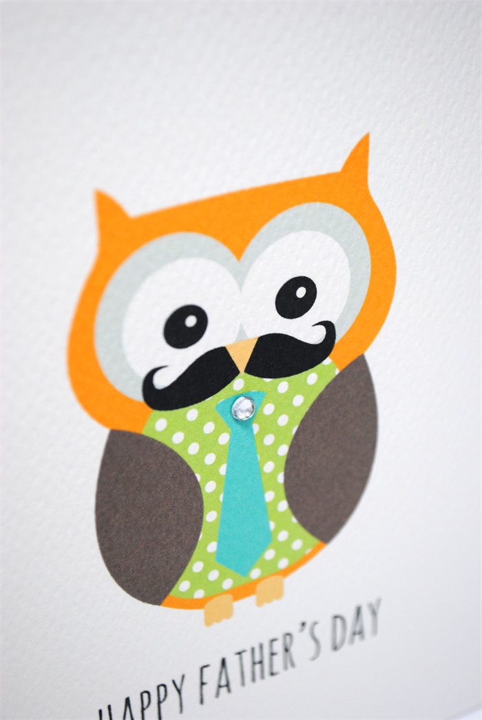father s day card owl dad with blue tie hfd027 mum and me