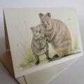Quokka - Australian wildlife art greeting card. Pencil illustration. cute animal