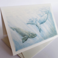 Whales - Australian wildlife art greeting card. Pencil illustration. blue ocean