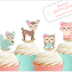 woodland animals EDIBLE cupcake cake toppers PRE-CUT baby shower boy girl