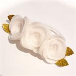 """""""Evarni"""" felt flower & nylon headband in white and gold"""