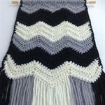 Monochrome Wall Hanging | Decoration | Chevron | Hand Crocheted