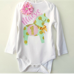 1st Birthday Outfit Pink, Mint & Gold Pony Onesie 1st Birthday Design