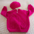 SIZE 3 - Hand knitted jumper in deep pink with matching beanie: washable, warm,