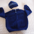 SIZE 3 - Hand knitted jumper in blue & white with matching beanie: washable