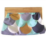 Scallop Print Timber Handled Clutch - Aqua, Metallic Gold, Grey, White
