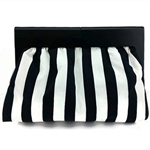 Monochrome clutch - Black and White - handbag, stripes