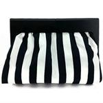Monochrome clutch - Black and White - handbag, stripes