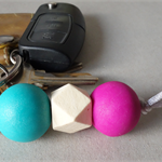 Bright key ring, back to school bag charm, geometric wooden bead, FREE postage