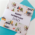 Happy Father's Day card Dad camper camping campfire car fishing bush tent