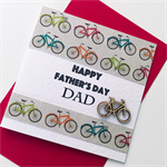 Bike cycling Happy Father's Day Dad celebrate bicycle wooden lasercut  card