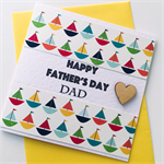 Happy Father's Day Dad red blue sail sailing boat celebrate wood heart card