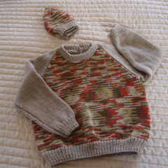 SIZE 3-4: Hand knitted jumper in multi colour with matching beanie: washable