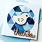 Thanks blue geometric wooden lasercut bird friend her him thankyou card